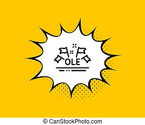 Ole chant line icon. Championship with flags sign. Sports ...