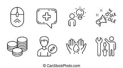 Ole chant, Tips and Medical chat icons set. Repairman, Safe ...