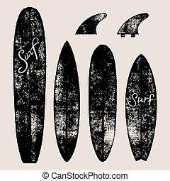 oleaje, boards., conjunto, vector, ilustración