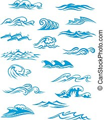 oleaje, conjunto, océano, salpicaduras, mar, ondas, o