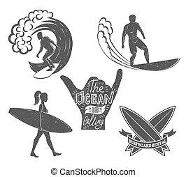 oleaje, estilo, conjunto, illustration., elements., vendimia, surf, logotypes., vector, diseño, retro, logotipo, tabla de surf