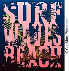 oleaje, grunge, bandera, cartel, aviador, postal, surfing., tema, ilustración, camiseta, fondo., tipografía, vector, gráficos, impresión
