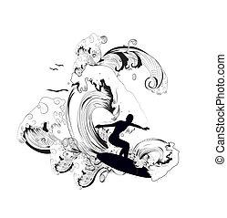 oleaje, ilustración