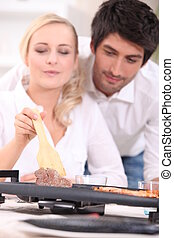 oleaje, pareja, cocina, tabletop, hotplate, césped