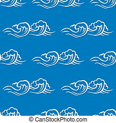 oleaje, patrón, seamless, mar, ondas