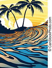 oleaje, playa, salida del sol