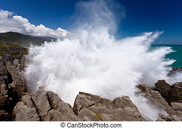 oleaje, rocas, nz, estallar, panqueque, punakaiki
