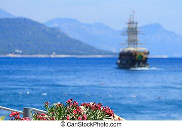 oleander, slør, hav, antalya, skib, blomster
