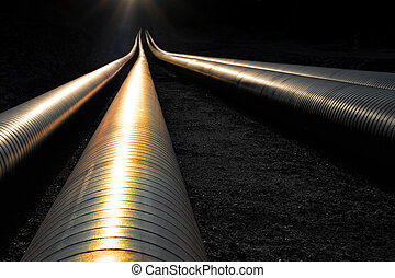 oleodutos, em, noite, luz