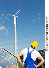 olha, solar, frente, turbina, painéis, vento, engenheiro