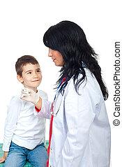 olhado, menino, curiosamente, doutor