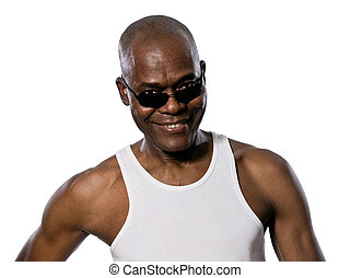 olhando, homem, óculos de sol, retrato