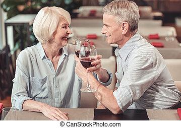 olhar, apaixonado, mulher, aposentado, homem