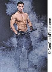 olhar, bodybuilder, bom, posar, policial