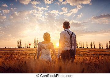 olhar, bonito, casório, pôr do sol, par