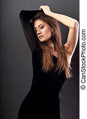 olhar, cabeça, fundo, adelgaçar, cinzento, braços, escuro, posar, acima, excitado, pretas, modelo, vestido