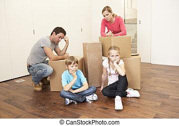 olhar, caixas, transtorne, família jovem