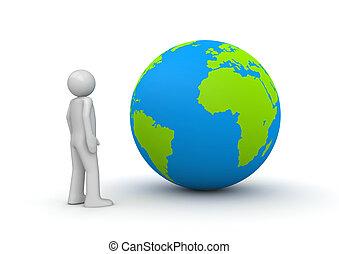 olhar, caráteres, (3d, globo, isolado, /, planeta, w, terra,...