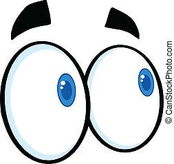 olhar, caricatura, olhos