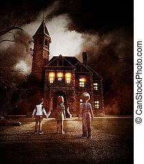 olhar, casa, crianças, assombrado