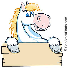 olhar, cavalo, branca, sobre, em branco