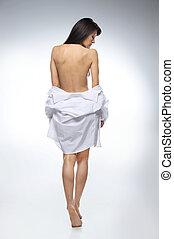 olhar, cheio, camisa, imagem, costas, beautifull, pelado, experiência., menina mulher, vista, branca, baixo, escuro-haired