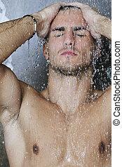 olhar, chuveiro, bom, homem, sob