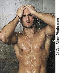 olhar, chuveiro, homem, bom, sob