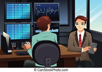 olhar, comerciante, monitores, mercado, estoque