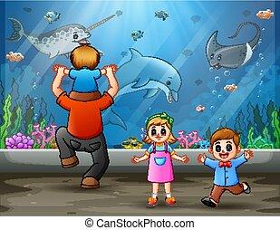 olhar, crianças, pai, natação, peixes