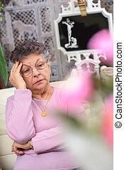 olhar, deprimido, mulher, idoso