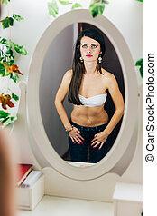olhar, espelho, ajustar, mulher