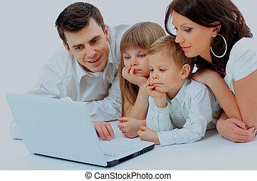 olhar, família, laptop, cama, home., mentindo, amando