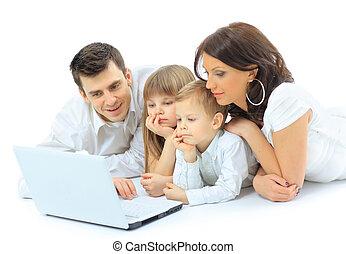 olhar, família, laptop, cama, lar, mentindo, amando