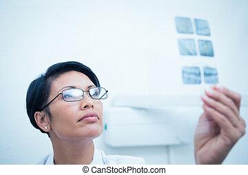 olhar, femininas, raio x, odontólogo