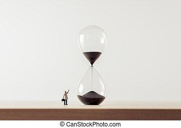 olhar, foto, homem negócios, hourglass., macro