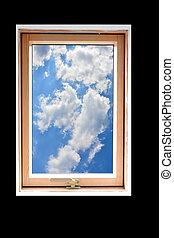 olhar, frame janela, saída