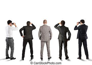 olhar, futuro, homens negócios