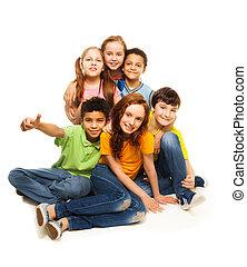 olhar, grupo, crianças, diversidade, feliz