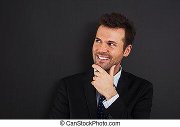 olhar, homem negócios, lado, pensativo, jovem