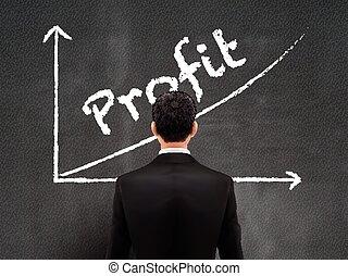 olhar, homem negócios, lucro, gráfico