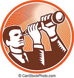 olhar, homem negócios, telescópio, woodcut, segurando