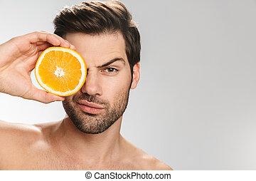 olhar, homem, segurando, câmera foto, laranja, bonito, ...