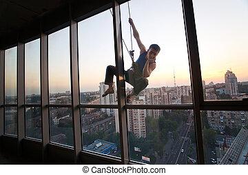 olhar, janela, industrial, através, escalador