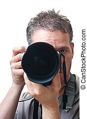 olhar, lente telephoto, com, fotógrafo, atrás de