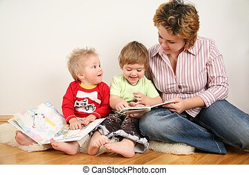 olhar, livros, crianças, mãe