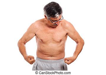olhar, músculos, seu,  Sênior, homem
