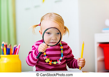 olhar, magnifier, menina, toddler, através