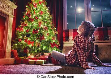 olhar, menina, árvore., decorações natal
