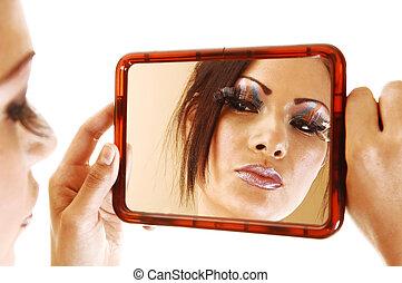 olhar, menina, espelho.